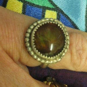 Vintage Fire Agate Sterling Silver Southwest Ring